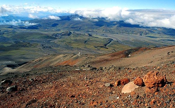 Výhled z úbočí Cotopaxi