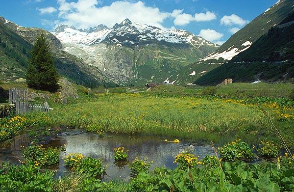Vesničky gletsch je krasný pohled udolim řeky rhony nahorů k