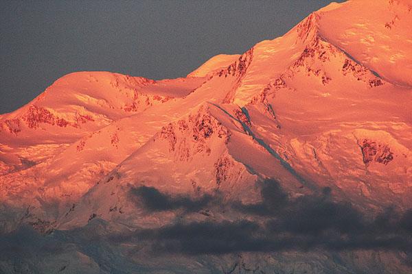 Oranžové ledovce na McKinley