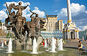 Fontána - památník zakladatelům Kyjeva