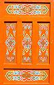 Ornamenty zdobené dveře do jurty