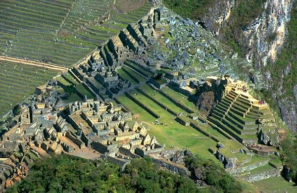 Letecký pohled na Machu Picchu