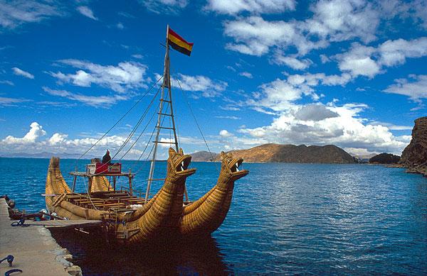 Rákosový člun, jezero Titicaca