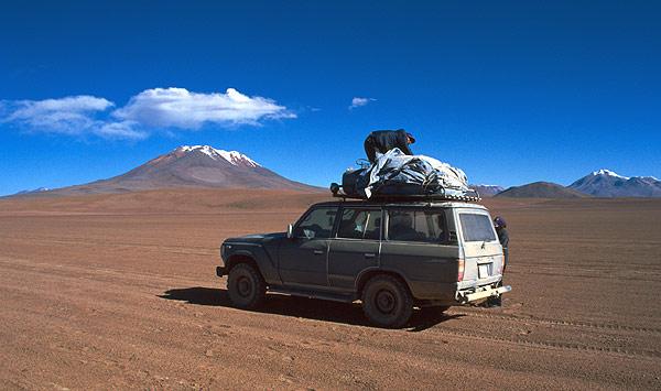 Džíp v poušti, rezervace Eduardo Avaroa