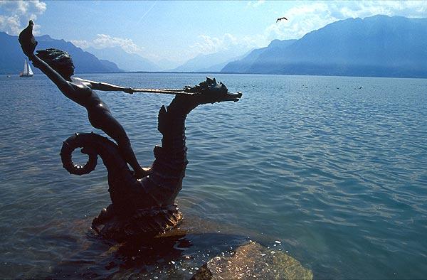 Socha v Ženevském jezeře, Vevey