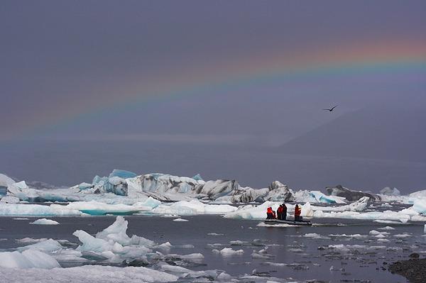 Duha nad ledovcovou lagunou