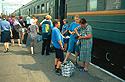 Transsibiřský vlak ve stanici